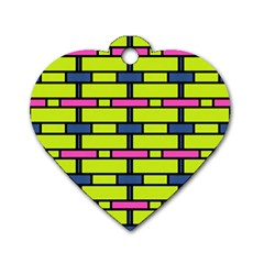 Pink,green,blue Rectangles Pattern Dog Tag Heart (one Side) by LalyLauraFLM