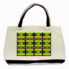 Pink,green,blue Rectangles Pattern Basic Tote Bag (two Sides) by LalyLauraFLM