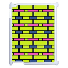 Pink,green,blue Rectangles Pattern Apple Ipad 2 Case (white) by LalyLauraFLM