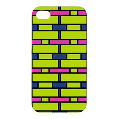 Pink,green,blue Rectangles Pattern Apple Iphone 4/4s Premium Hardshell Case by LalyLauraFLM
