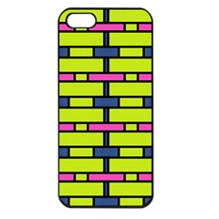 Pink,green,blue Rectangles Pattern Apple Iphone 5 Seamless Case (black) by LalyLauraFLM