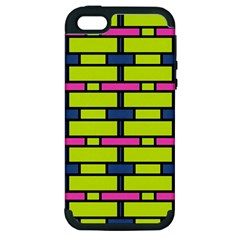 Pink,green,blue Rectangles Pattern Apple Iphone 5 Hardshell Case (pc+silicone) by LalyLauraFLM