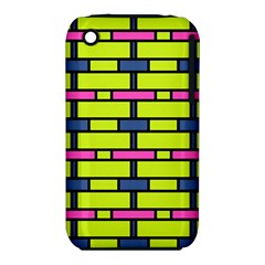 Pink,green,blue Rectangles Pattern Apple Iphone 3g/3gs Hardshell Case (pc+silicone) by LalyLauraFLM