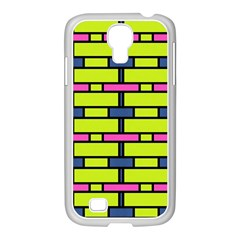 Pink,green,blue Rectangles Pattern Samsung Galaxy S4 I9500/ I9505 Case (white) by LalyLauraFLM