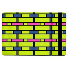 Pink Green Blue Rectangles Pattern	apple Ipad Air Flip Case by LalyLauraFLM