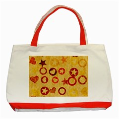 Shapes on vintage paper Classic Tote Bag (Red) by LalyLauraFLM