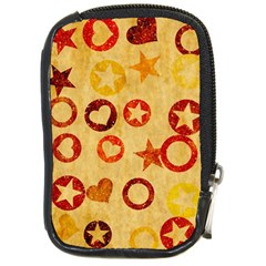 Shapes On Vintage Paper Compact Camera Leather Case by LalyLauraFLM