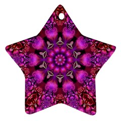 Pink Fractal Kaleidoscope  Star Ornament by KirstenStar
