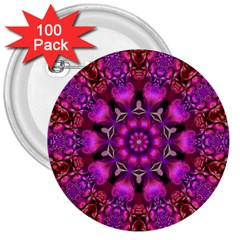 Pink Fractal Kaleidoscope  3  Button (100 Pack) by KirstenStar
