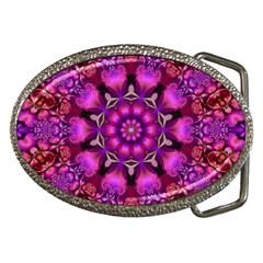 Pink Fractal Kaleidoscope  Belt Buckle (oval) by KirstenStar