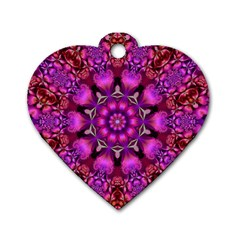 Pink Fractal Kaleidoscope  Dog Tag Heart (one Sided)  by KirstenStar
