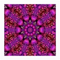 Pink Fractal Kaleidoscope  Glasses Cloth (medium, Two Sided) by KirstenStar