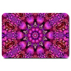 Pink Fractal Kaleidoscope  Large Door Mat by KirstenStar