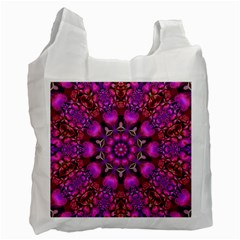 Pink Fractal Kaleidoscope  White Reusable Bag (two Sides) by KirstenStar