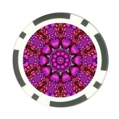 Pink Fractal Kaleidoscope  Poker Chip (10 Pack)