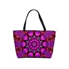 Pink Fractal Kaleidoscope  Large Shoulder Bag by KirstenStar