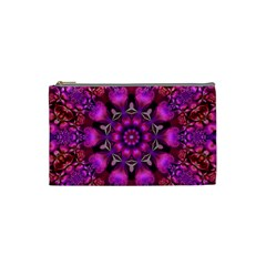 Pink Fractal Kaleidoscope  Cosmetic Bag (small) by KirstenStar