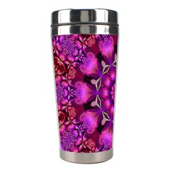 Pink Fractal Kaleidoscope  Stainless Steel Travel Tumbler by KirstenStar