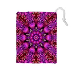 Pink Fractal Kaleidoscope  Drawstring Pouch (large) by KirstenStar