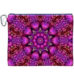 Pink Fractal Kaleidoscope  Canvas Cosmetic Bag (XXXL) by KirstenStar
