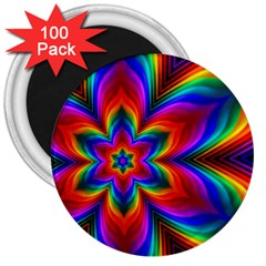 Rainbow Flower 3  Button Magnet (100 Pack) by KirstenStar