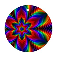 Rainbow Flower Round Ornament (two Sides) by KirstenStar