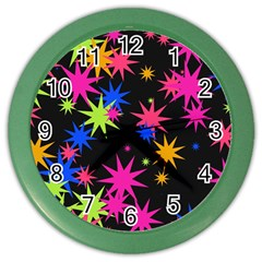 Colorful Stars Pattern Color Wall Clock by LalyLauraFLM