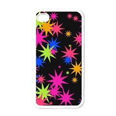 Colorful Stars Pattern Apple Iphone 4 Case (white) by LalyLauraFLM
