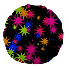Colorful Stars Pattern Large 18  Premium Round Cushion  by LalyLauraFLM