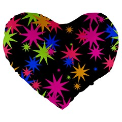 Colorful Stars Pattern Large 19  Premium Heart Shape Cushion by LalyLauraFLM