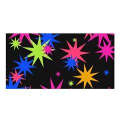 Colorful Stars Pattern Satin Shawl by LalyLauraFLM