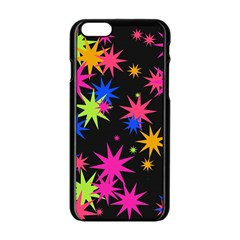 Colorful Stars Pattern Apple Iphone 6 Black Enamel Case by LalyLauraFLM