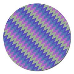 Diagonal Chevron Pattern Magnet 5  (round) by LalyLauraFLM
