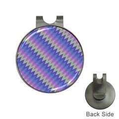 Diagonal Chevron Pattern Golf Ball Marker Hat Clip by LalyLauraFLM