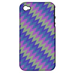 Diagonal Chevron Pattern Apple Iphone 4/4s Hardshell Case (pc+silicone) by LalyLauraFLM