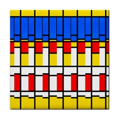 Colorful Rectangles Pattern Tile Coaster by LalyLauraFLM