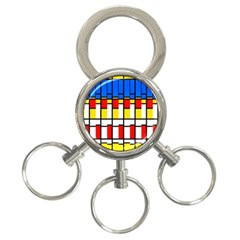 Colorful Rectangles Pattern 3 Ring Key Chain by LalyLauraFLM