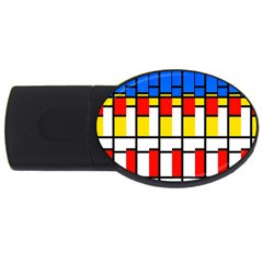 Colorful Rectangles Pattern Usb Flash Drive Oval (4 Gb) by LalyLauraFLM