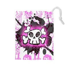 Cartoon Skull  Drawstring Pouch (large) by ArtistRoseanneJones