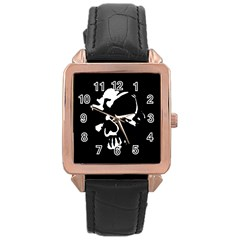 Gothic Skull Rose Gold Leather Watch  by ArtistRoseanneJones
