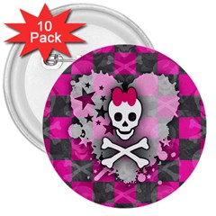 Princess Skull Heart 3  Button (10 pack) by ArtistRoseanneJones