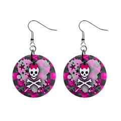 Princess Skull Heart Mini Button Earrings by ArtistRoseanneJones