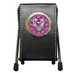 Princess Skull Heart Stationery Holder Clock