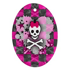 Princess Skull Heart Oval Ornament (two Sides)
