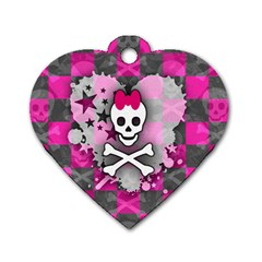Princess Skull Heart Dog Tag Heart (two Sided) by ArtistRoseanneJones