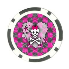 Princess Skull Heart Poker Chip