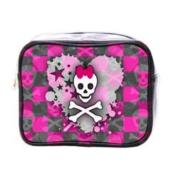 Princess Skull Heart Mini Travel Toiletry Bag (one Side)