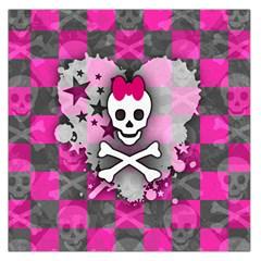 Princess Skull Heart Large Satin Scarf (square) by ArtistRoseanneJones