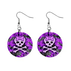 Purple Girly Skull Mini Button Earrings by ArtistRoseanneJones