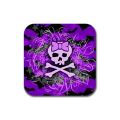 Purple Girly Skull Drink Coaster (Square) by ArtistRoseanneJones